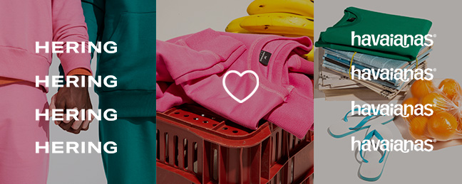 Banner com 4 imagens:  Short de moletom no chão sobre uma toalha listrada com a figura de um coração em cima, Duas pessoas dando as mãos vestindo moletons e o logotipo da hering em cima .Caixote de feira com uma camiseta de moletom em cima e um coração
